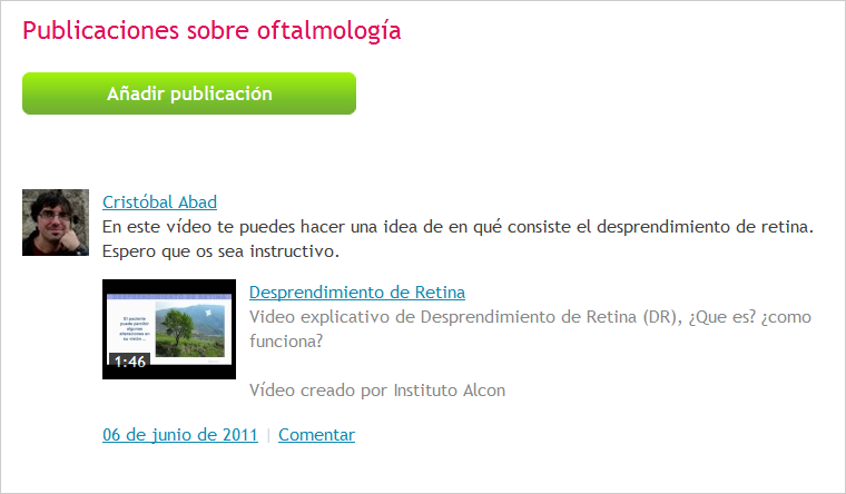 Publicaciones sobre oftalmología