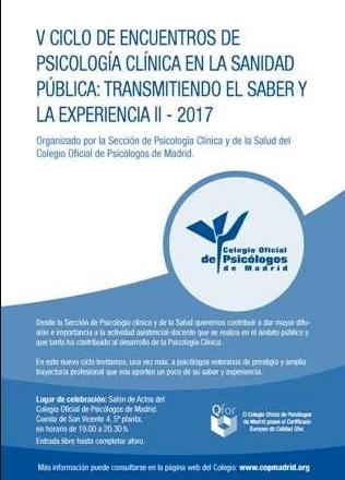 V Ciclo de encuentros de Psicología Clínica en la Sanidad Pública